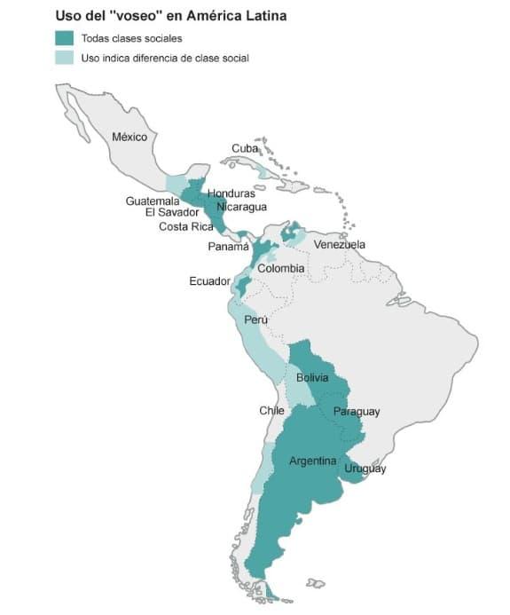 mapa del voseo en el castellano
