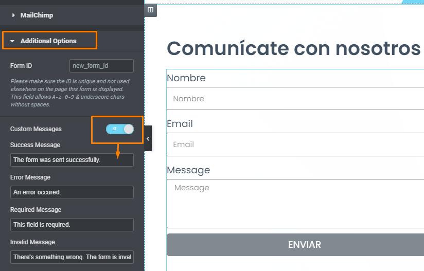 viendo mensajes de éxito o error al conectar formulario de elementor pro con mailchimp