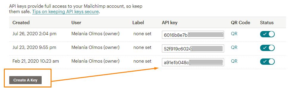viendo como crear clave api en mailchimp para conectar formulario de elementor pro con mailchimp