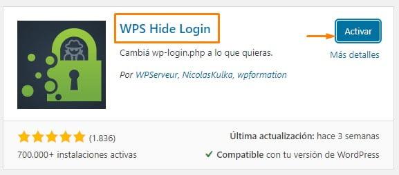 instalar y activar wps hide login